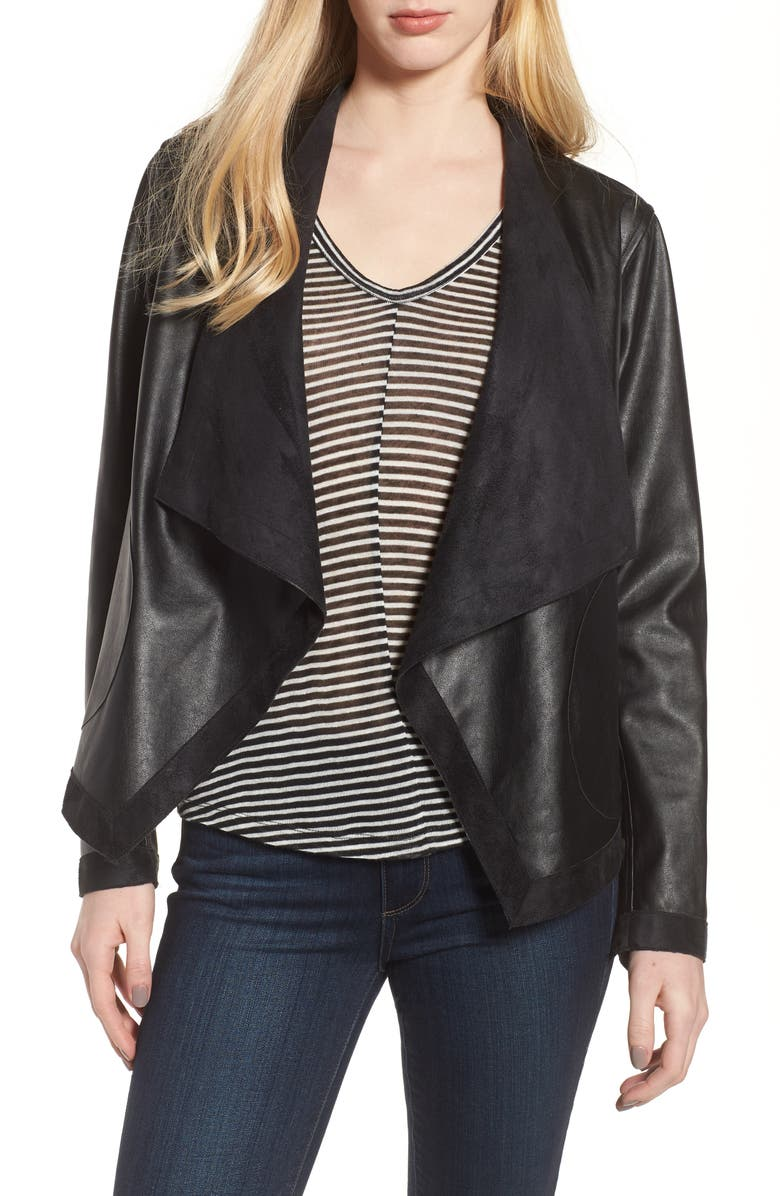BB DAKOTA Teagan Reversible Faux Leather Drape Front Jacket, Main, color, BLACK