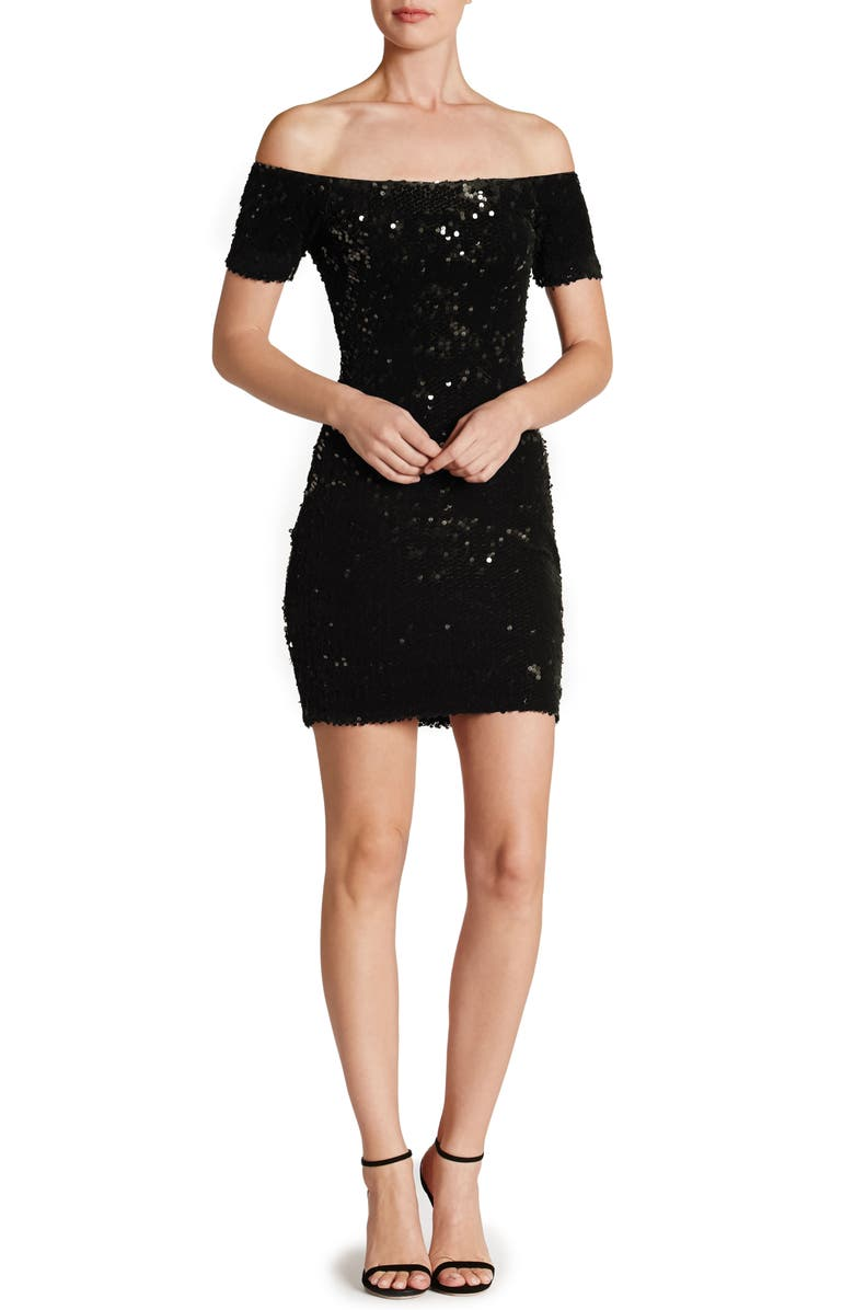 DRESS THE POPULATION Larissa Sequin Off the Shoulder Body-Con Dress, Main, color, 001