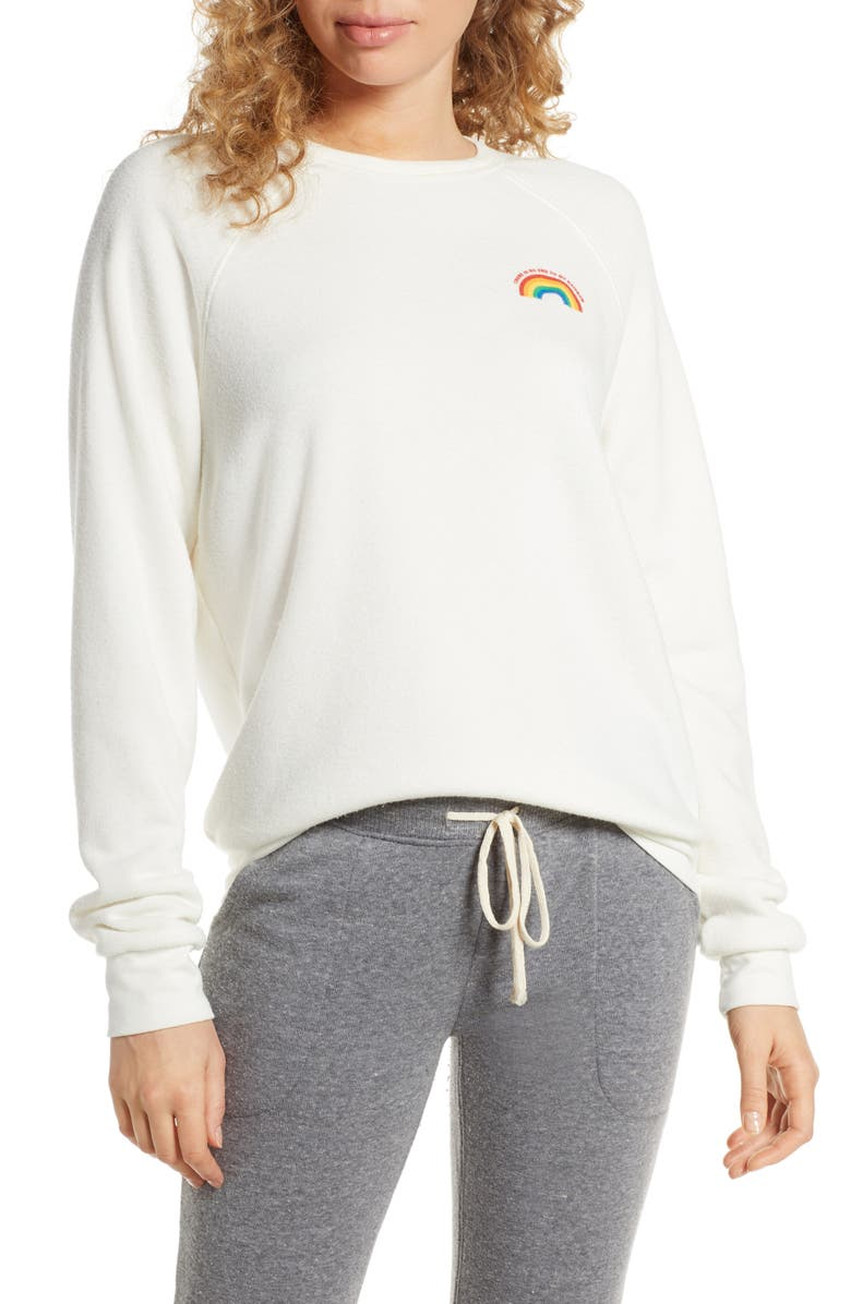 PROJECT SOCIAL T No End to My Rainbow Sweatshirt, Main, color, IVORY