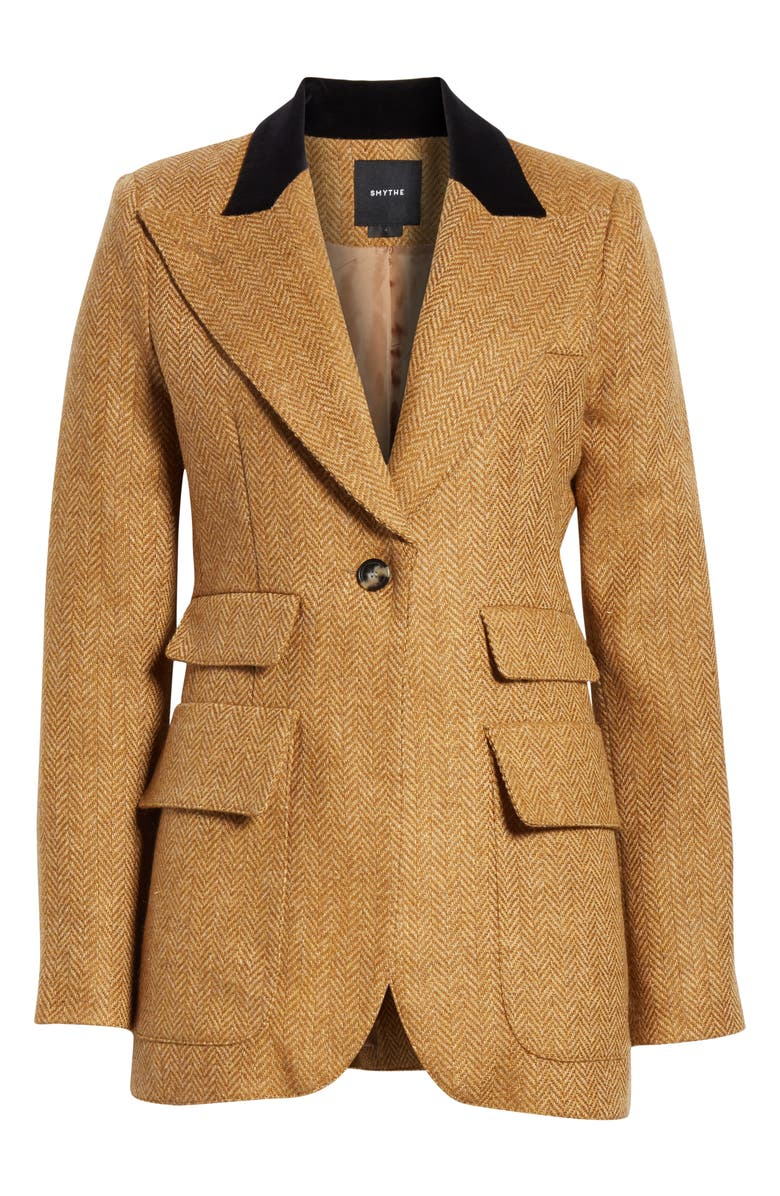SMYTHE Birkin Herringbone Wool Blazer, Alternate, color, SCOTCH HERRINGBONE