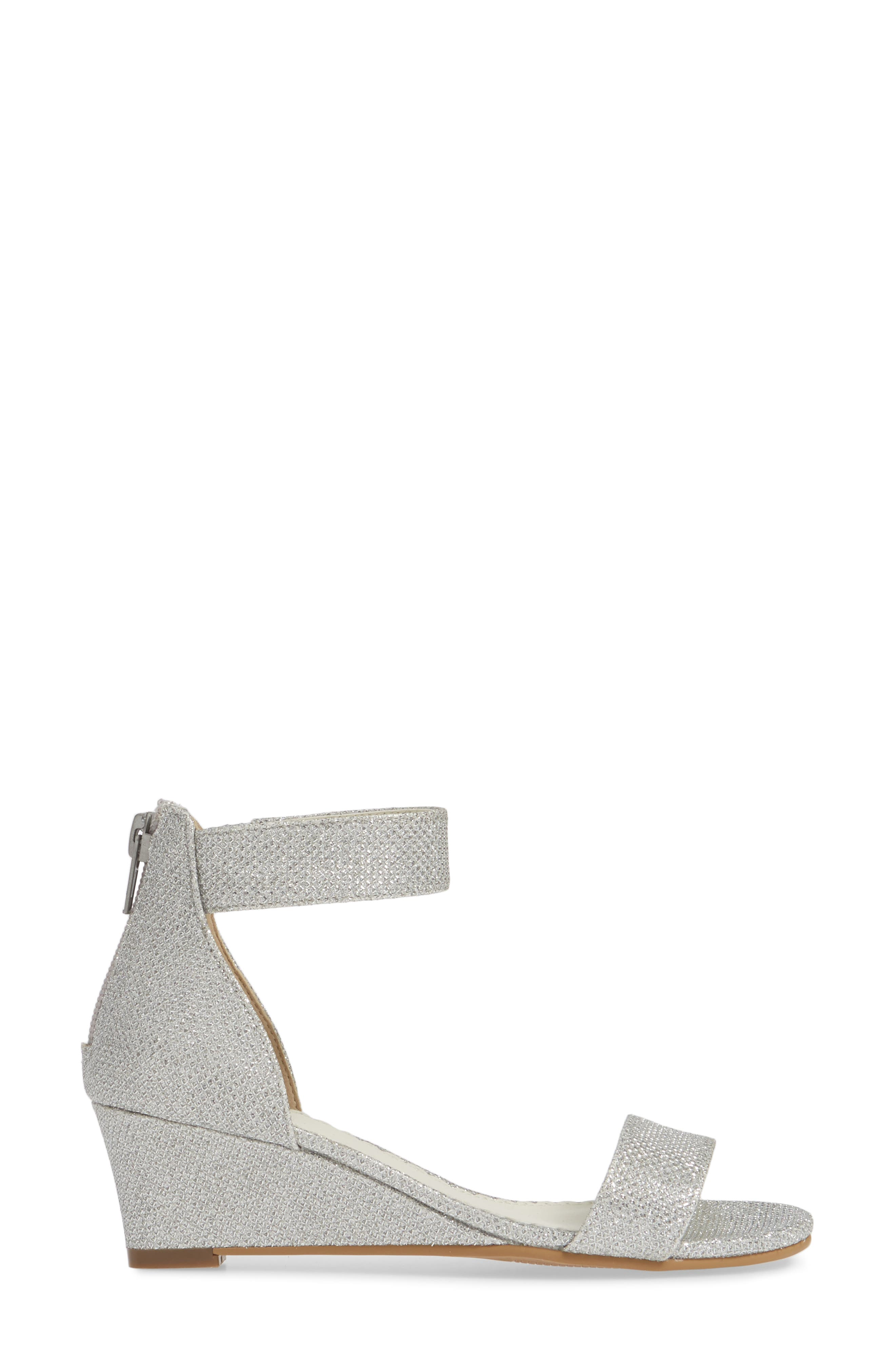 ,                             Cora Glitter Wedge Sandal,                             Alternate thumbnail 3, color,                             SILVER SHIMMER FAUX LEATHER