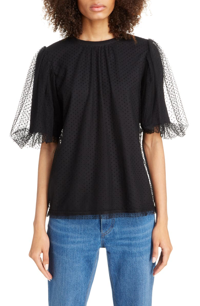 MARC JACOBS Puff Sleeve Flocked Tulle Blouse, Main, color, BLACK