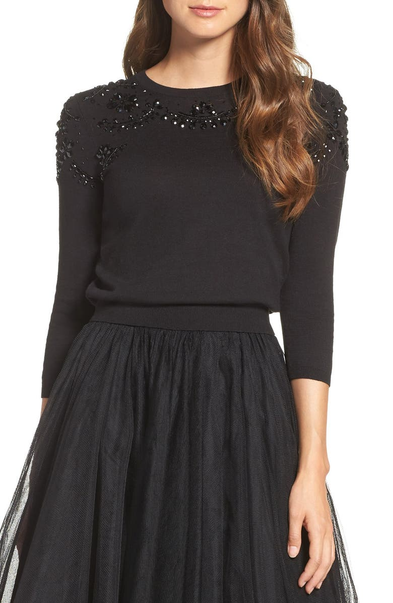 JENNY YOO Millie Beaded Cotton Blend Sweater, Main, color, 001