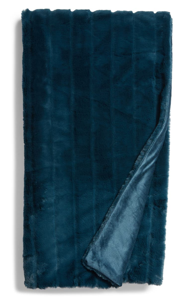 NORDSTROM AT HOME Sheared Stripe Faux Fur Throw, Main, color, TEAL GAZER