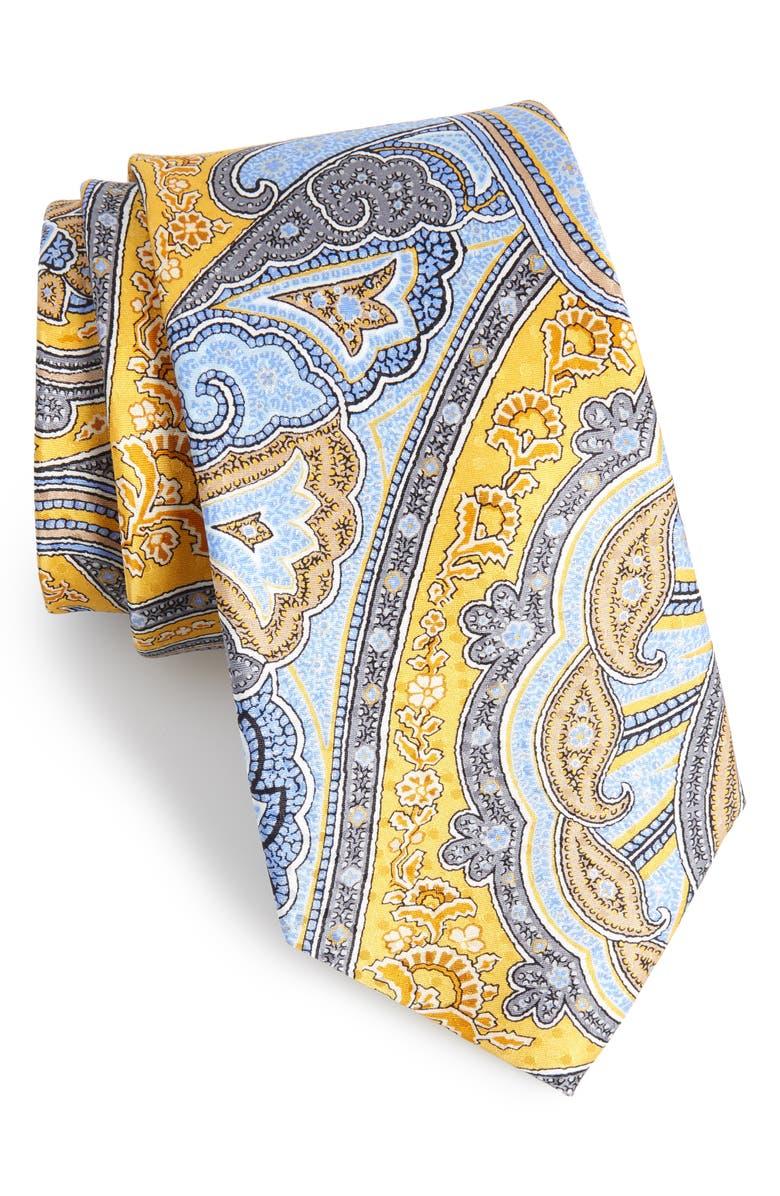 NORDSTROM MEN'S SHOP Paisley Silk Tie, Main, color, YELLOW