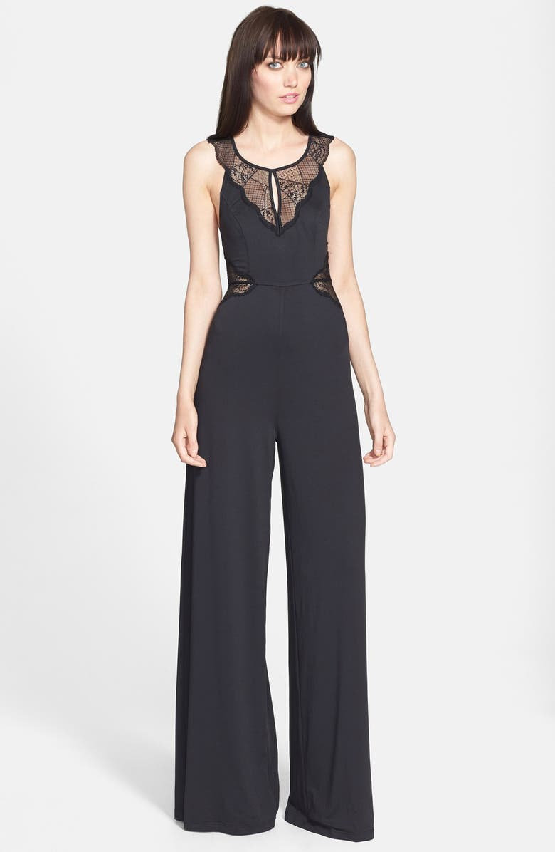 FILTRE Lace Inset Wide Leg Jumpsuit, Main, color, 001