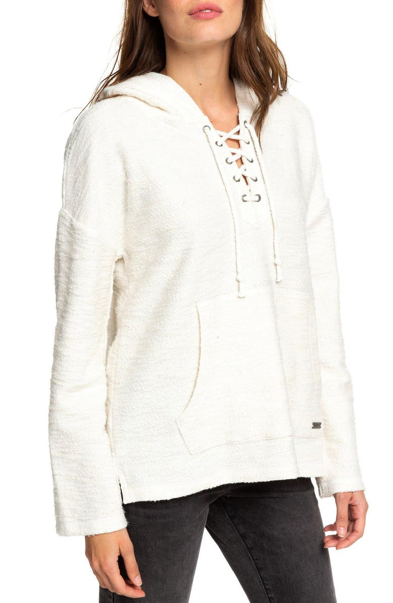 ROXY Would You Believe Lace Up Hoodie, Main, color, 100