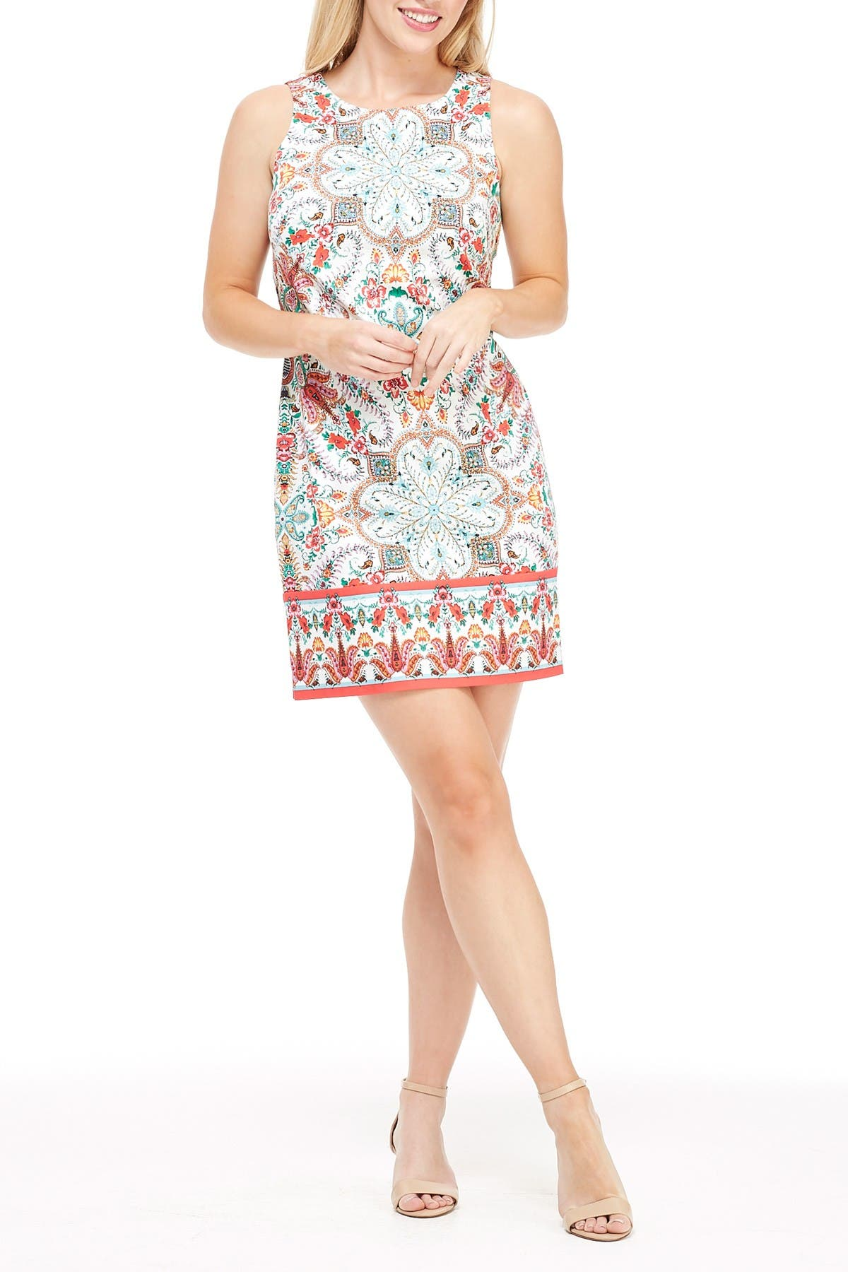 Image of London Times Floral Paisley Sleeveless Sheath Dress
