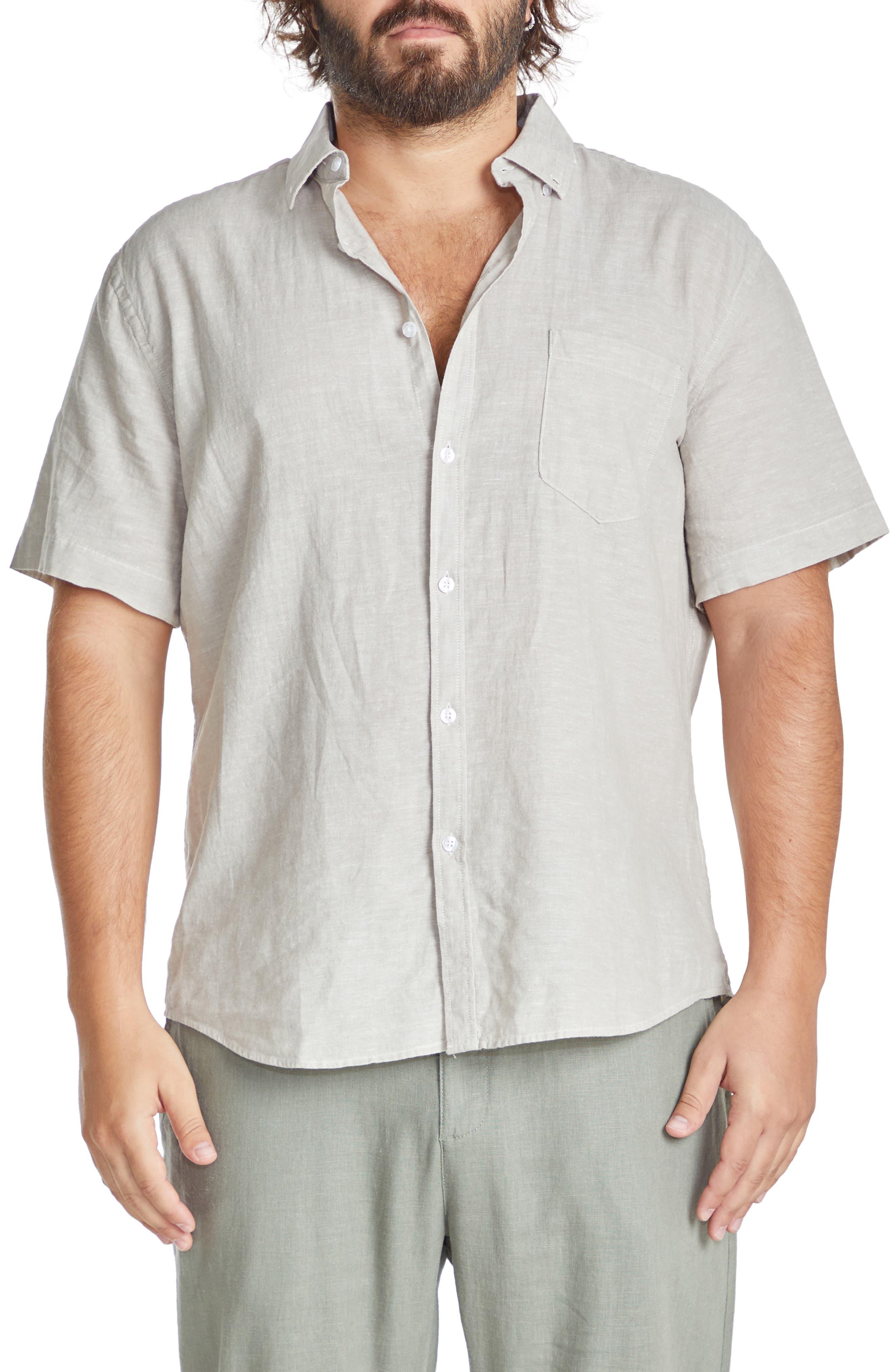 Tahiti Slub Short Sleeve Linen Blend Button-Down Shirt