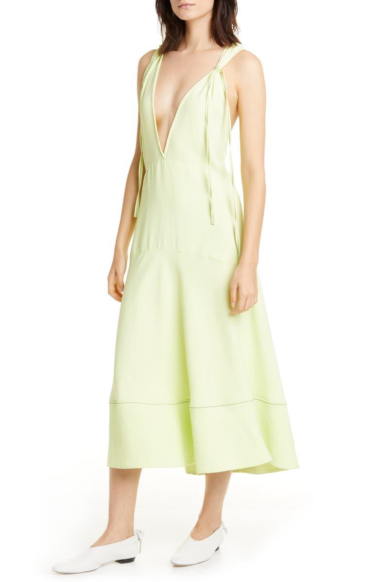 PROENZA SCHOULER WHITE LABEL Proenza Schouler V-Neck Midi Dress, Main, color, CELERY
