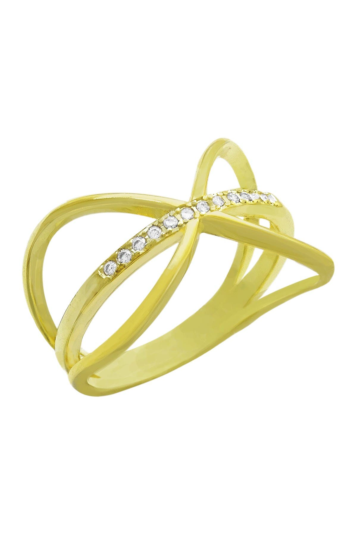Image of Savvy Cie 18K Gold Vermeil Sterling Silver CZ Ring