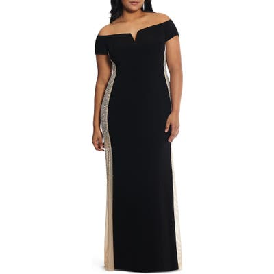 Plus Size Xscape Caviar Bead Off The Shoulder Gown, Black