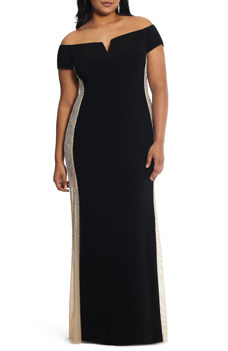 XSCAPE Caviar Bead Off the Shoulder Gown, Main, color, BLACK/ NUDE/ SILVER