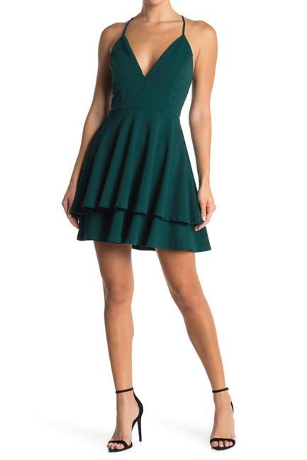 Image of Love, Nickie Lew V-Neck Lace Back Skater Dress
