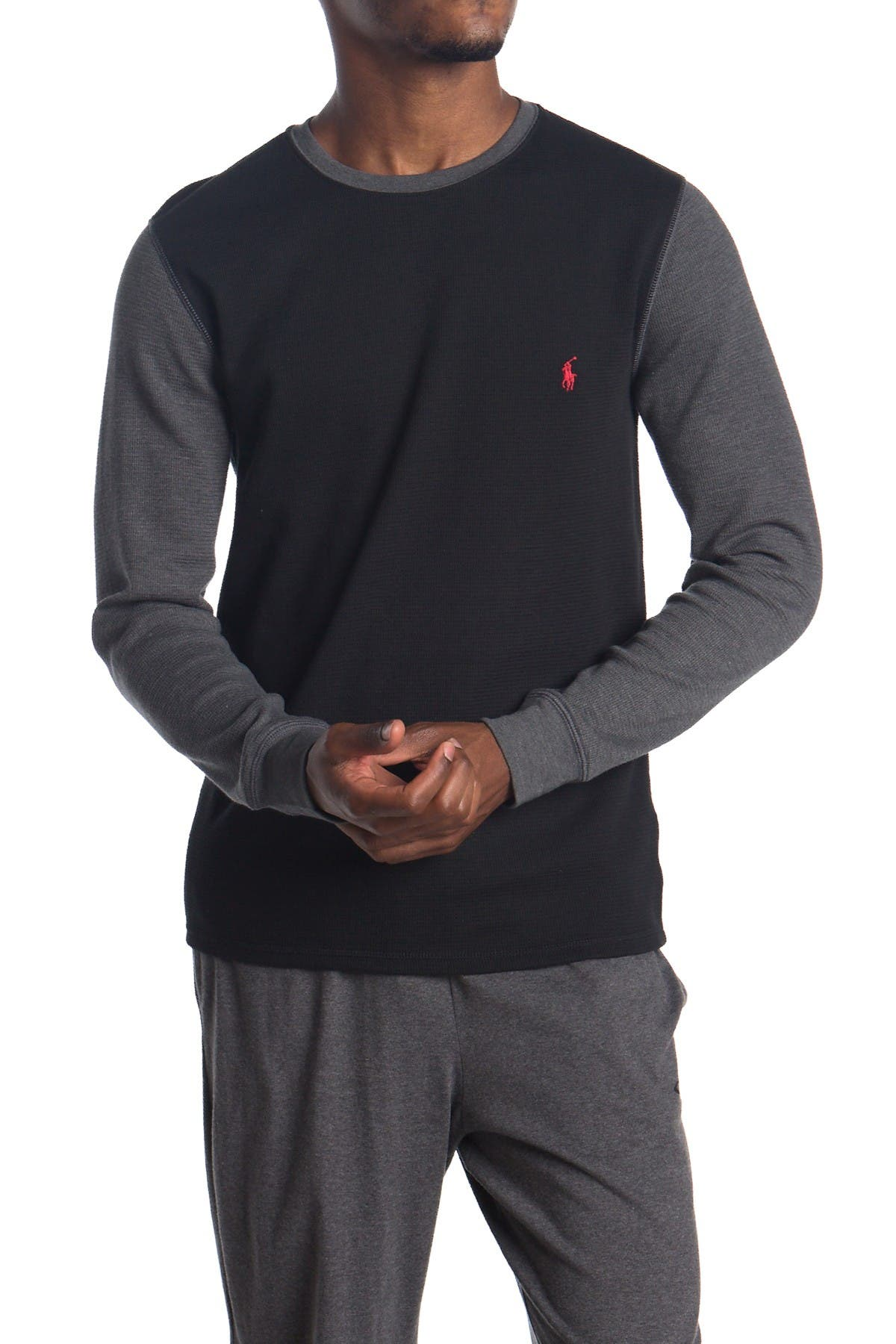 Image of Polo Colorblock Waffle Knit Long Sleeve Sweater