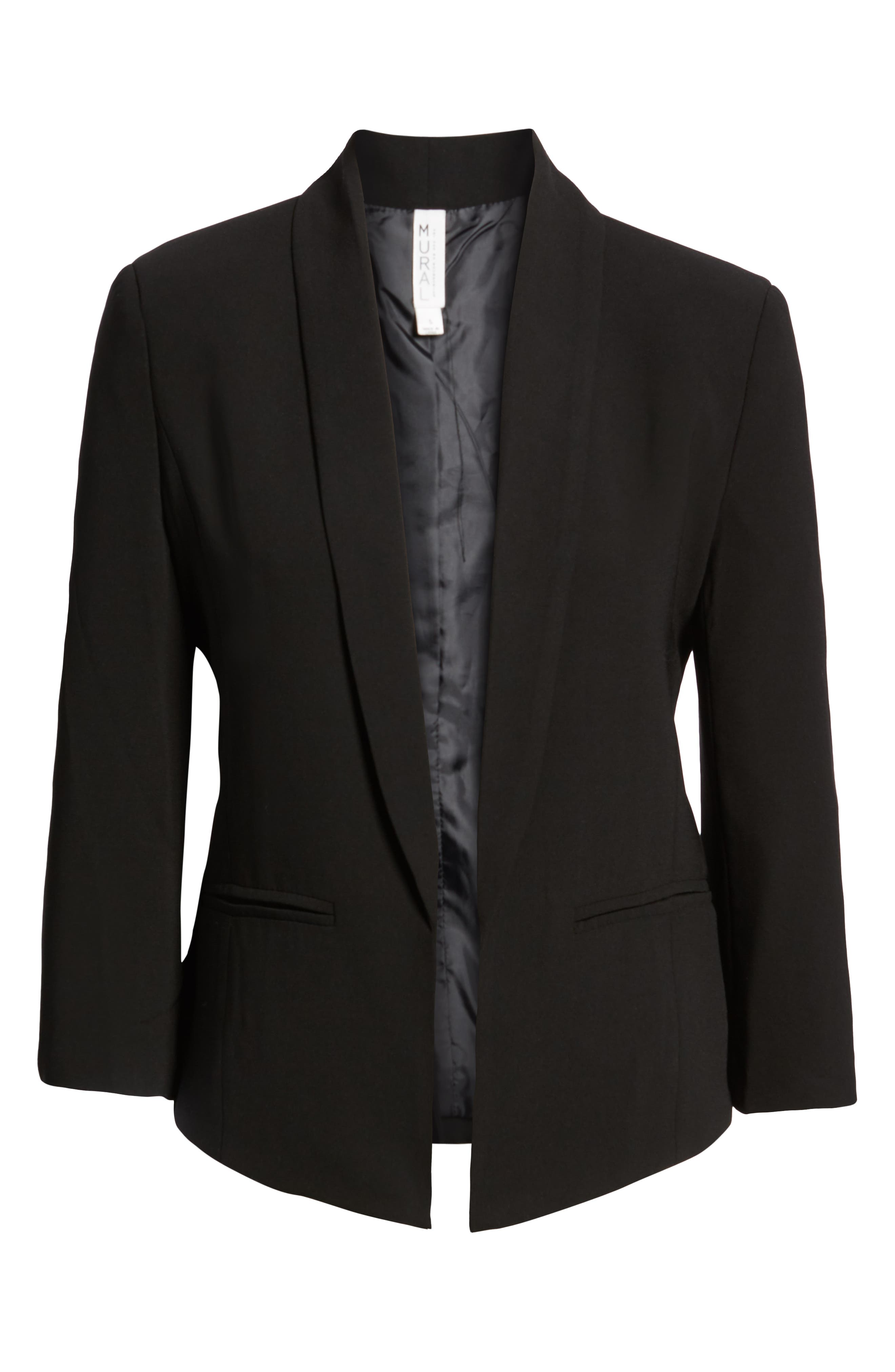 ,                             'Curve' Open Front Shawl Collar Blazer,                             Main thumbnail 1, color,                             BLACK