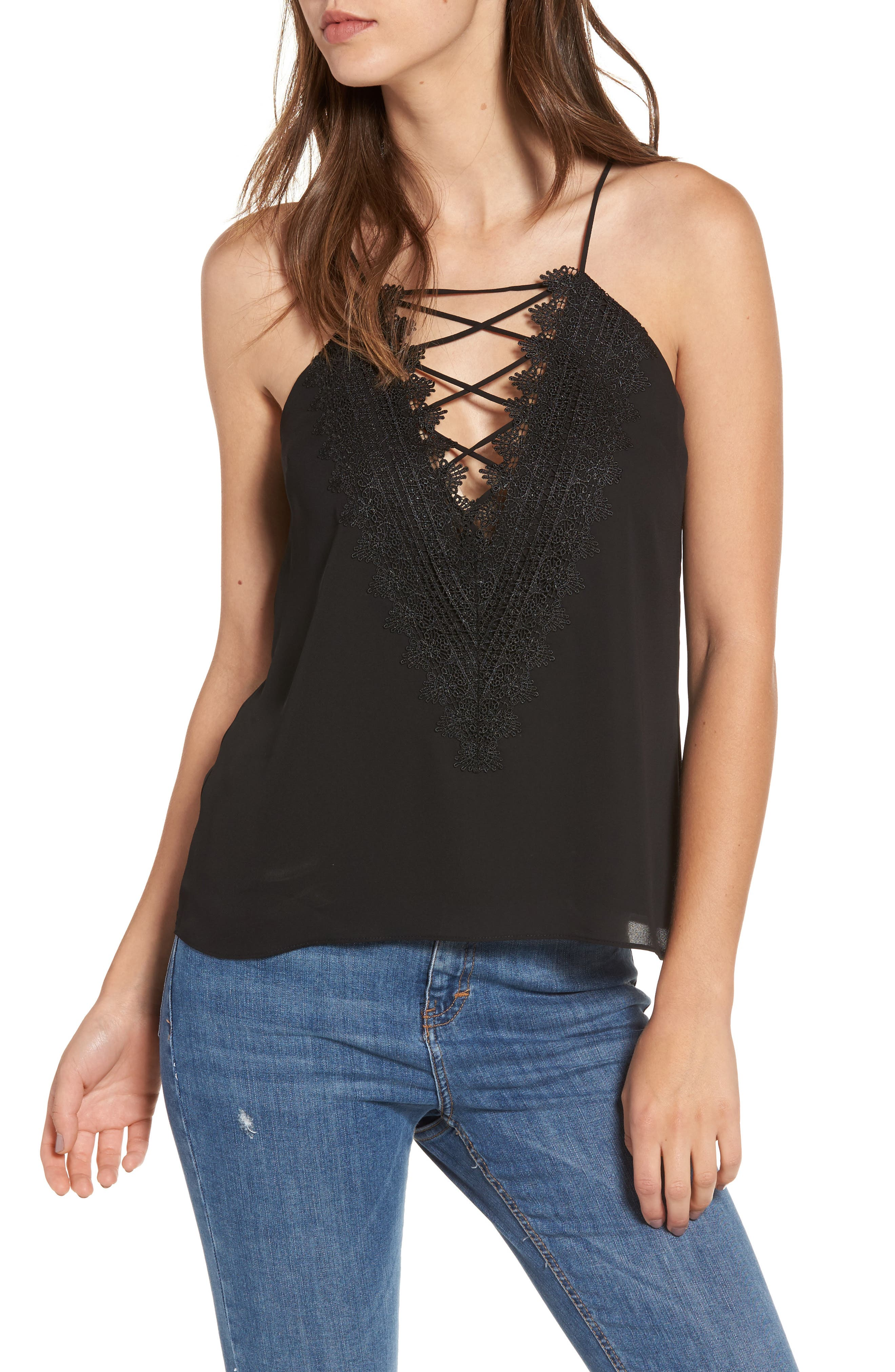 ,                             Posie Strappy Camisole,                             Main thumbnail 38, color,                             001