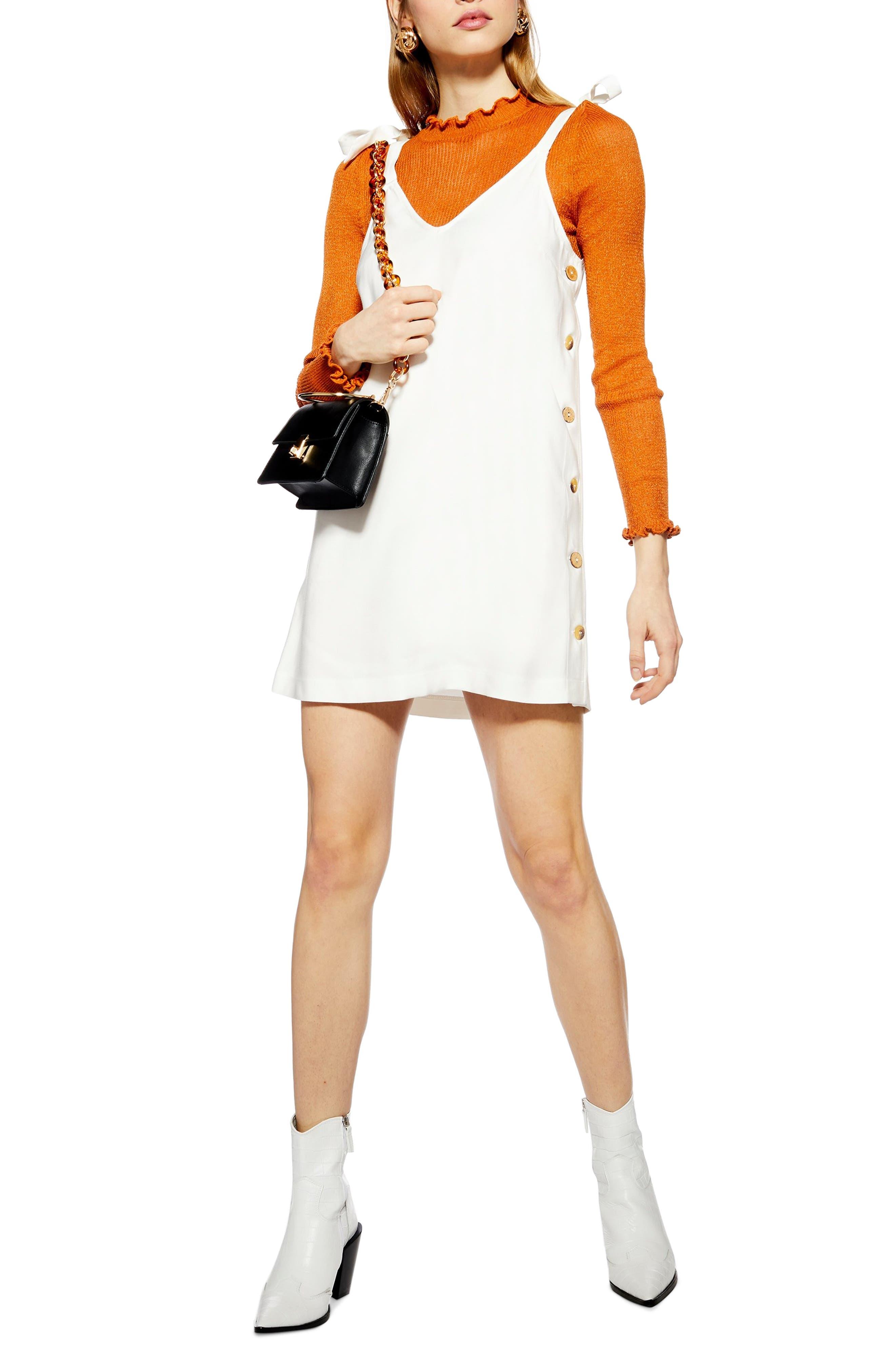 Topshop Tilda Button Mini Slipdress, US (fits like 0) - Ivory