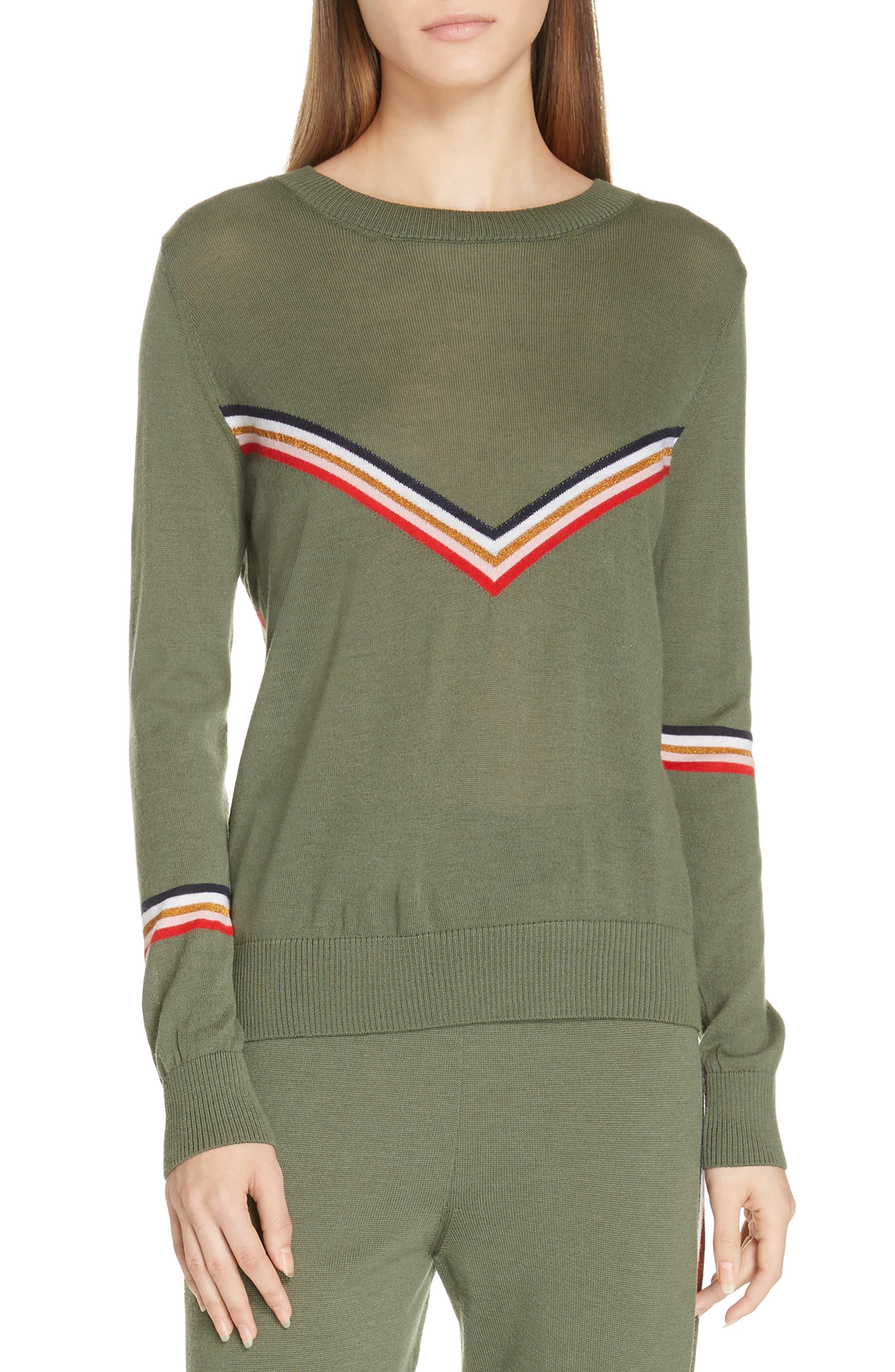 ,                             Chevron Stripe Sweater,                             Main thumbnail 1, color,                             KHAKI