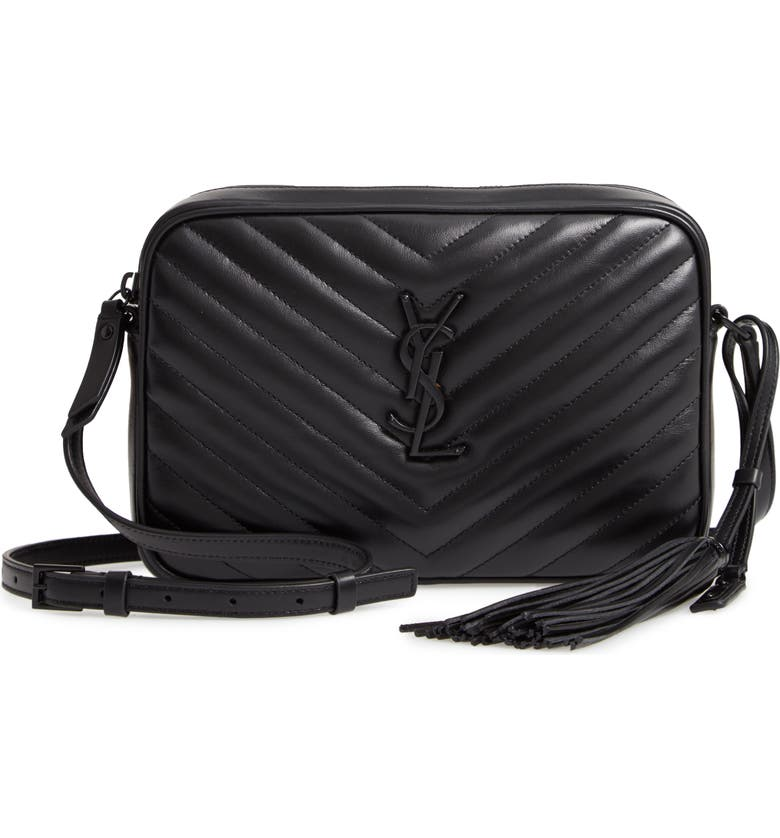 SAINT LAURENT Small Lou Lambskin Leather Camera Bag, Main, color, 001