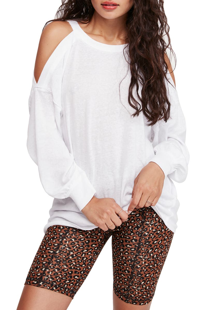 FREE PEOPLE Chill Out Cold Shoulder Top, Main, color, 100