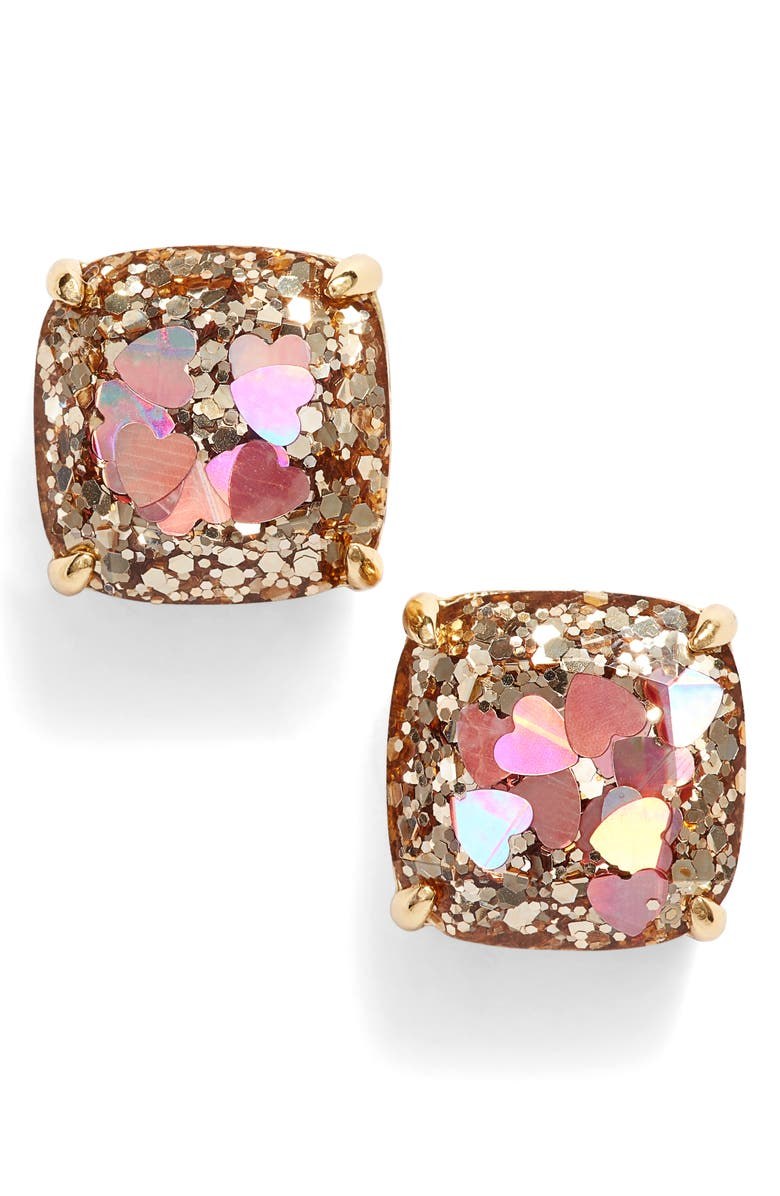 KATE SPADE NEW YORK glitter small square stud earrings, Main, color, 650