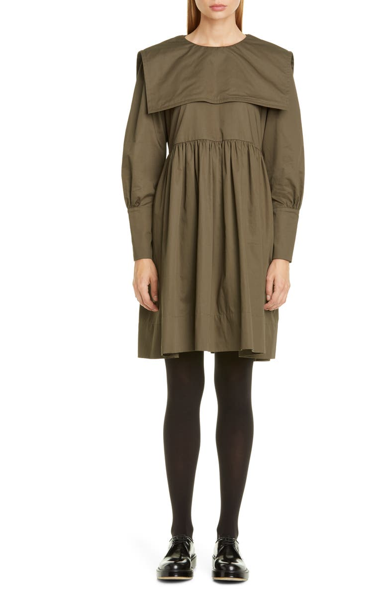MOLLY GODDARD Long Sleeve Sailor Collar Minidress, Main, color, KHAKI