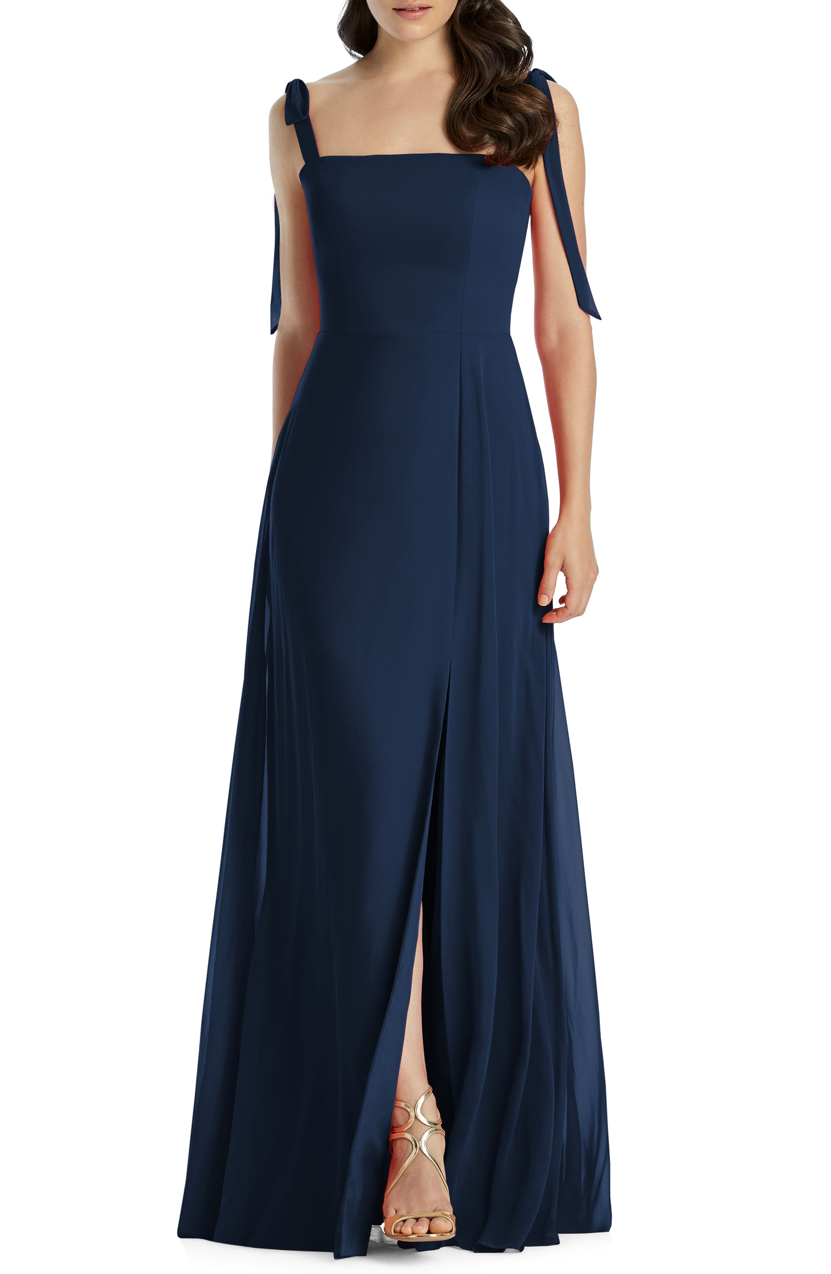 Dessy Collection Shoulder Tie Chiffon Evening Dress, 8 (similar to 1) - Blue