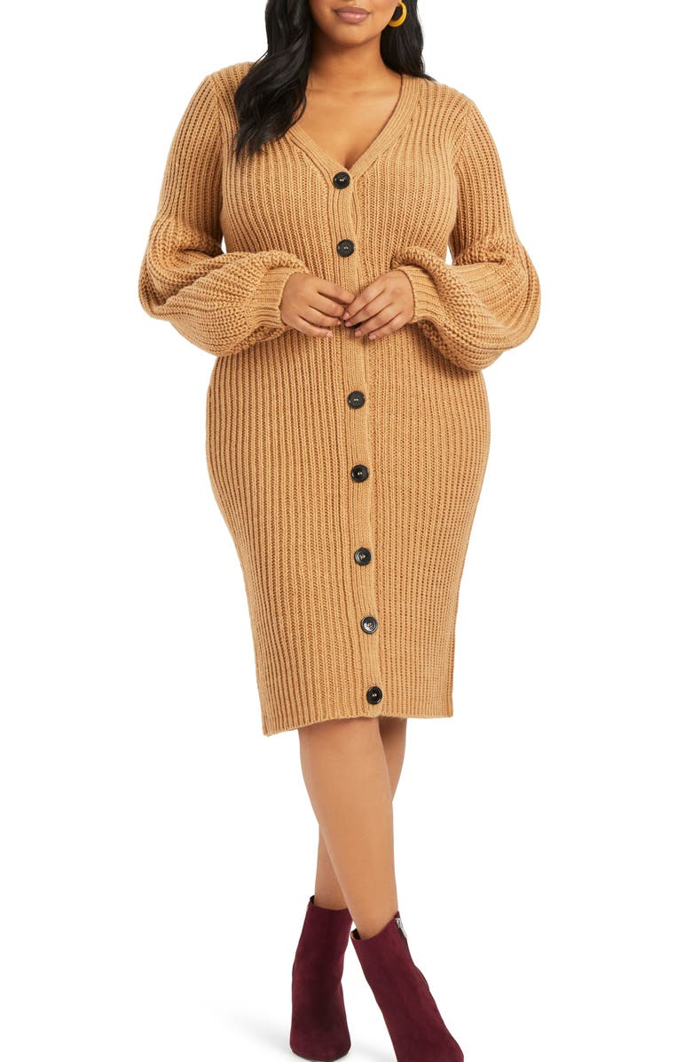 ELOQUII Balloon Sleeve Sweater Dress, Main, color, CARAMEL
