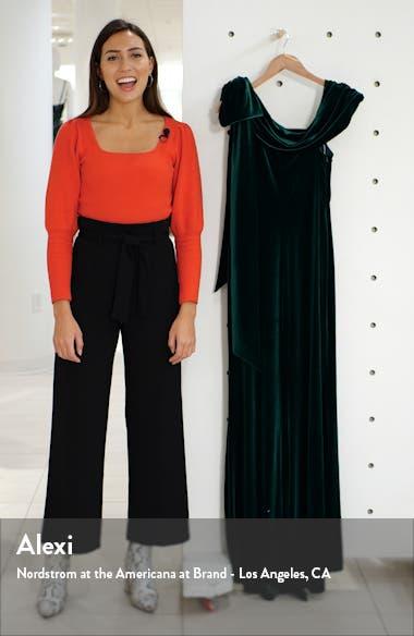 One-Shoulder Bow Velvet Gown, sales video thumbnail