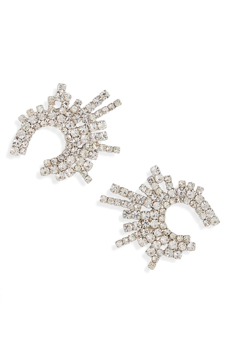 CRISTABELLE Crystal Crescent Stud Earrings, Main, color, CRYSTAL/ SILVER