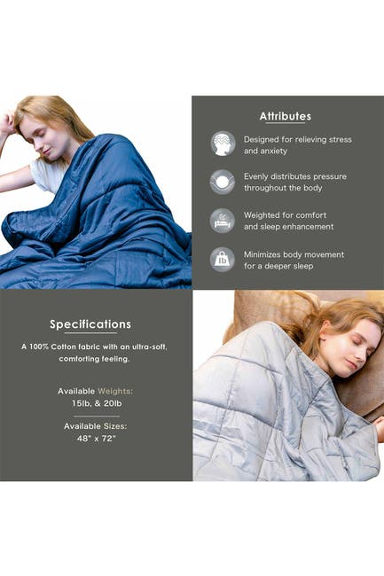 """Image of PUR SERENITY 15 lbs Cotton Weighted Blanket 48""""x 72""""- Silver Grey"""