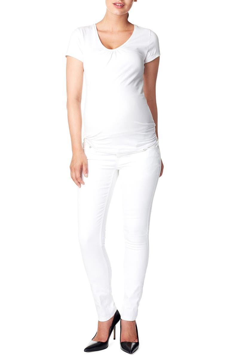NOPPIES 'Leah' Over the Belly Slim Maternity Jeans, Main, color, WHITE