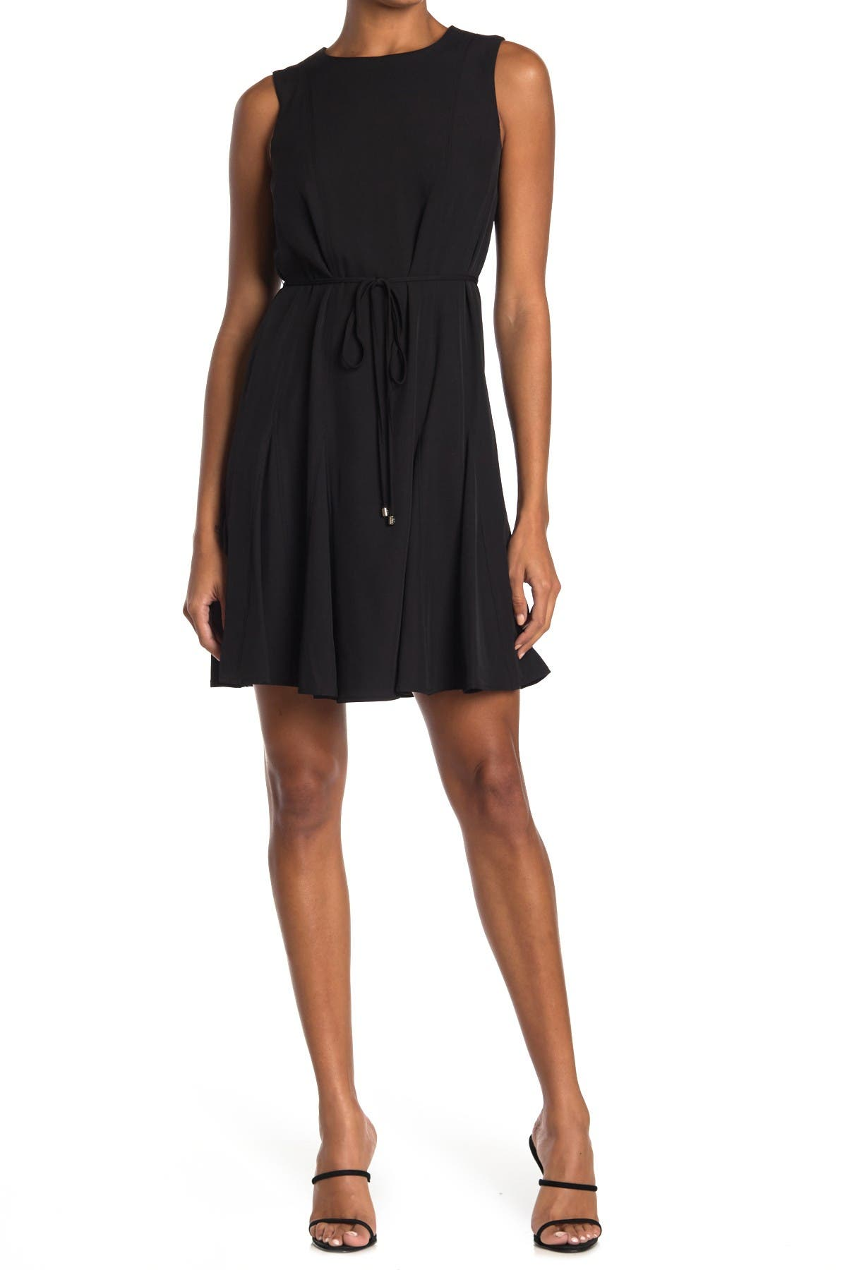 Image of Tommy Hilfiger Sleeveless Tie Waist Fit & Flare Dress