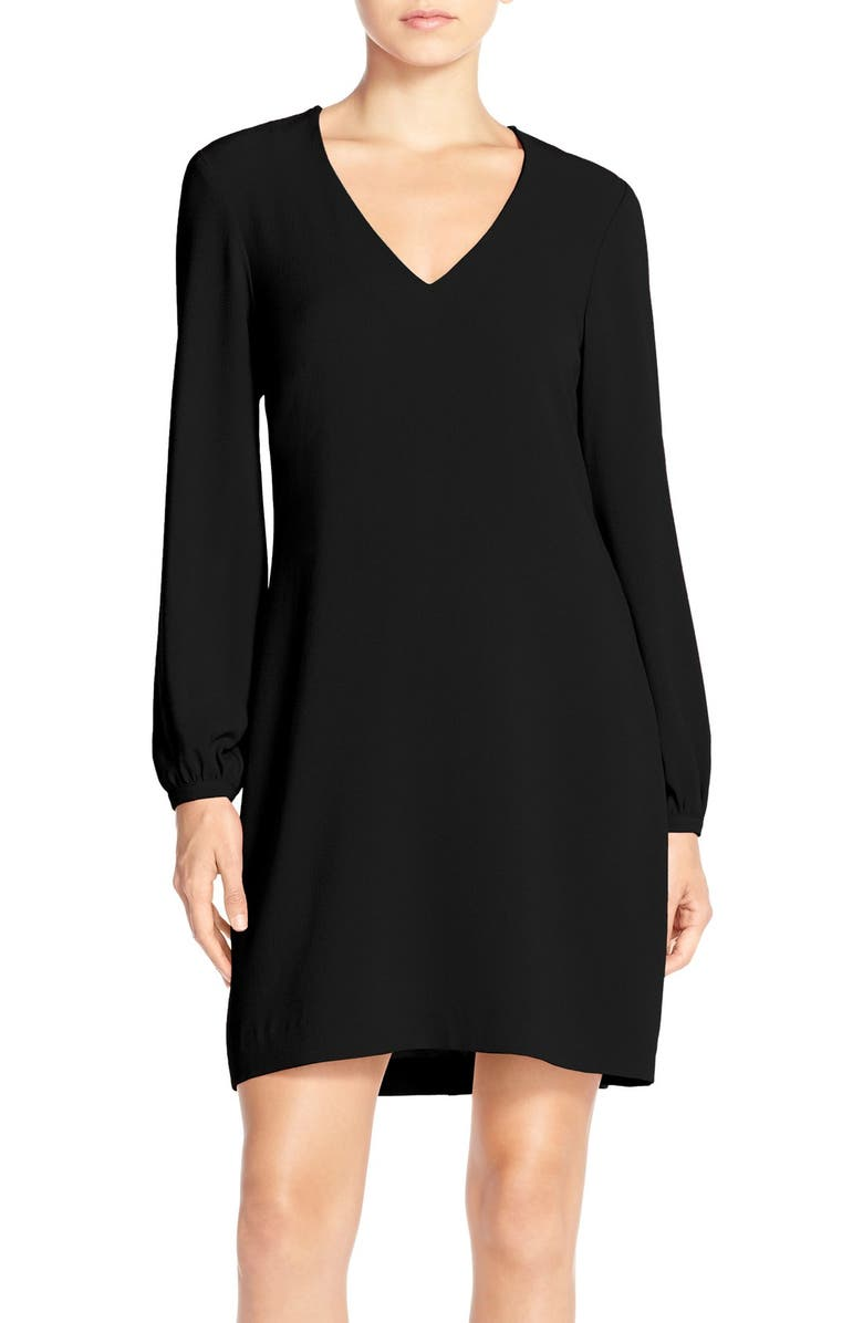 CHARLES HENRY Crepe A-Line Dress, Main, color, 001