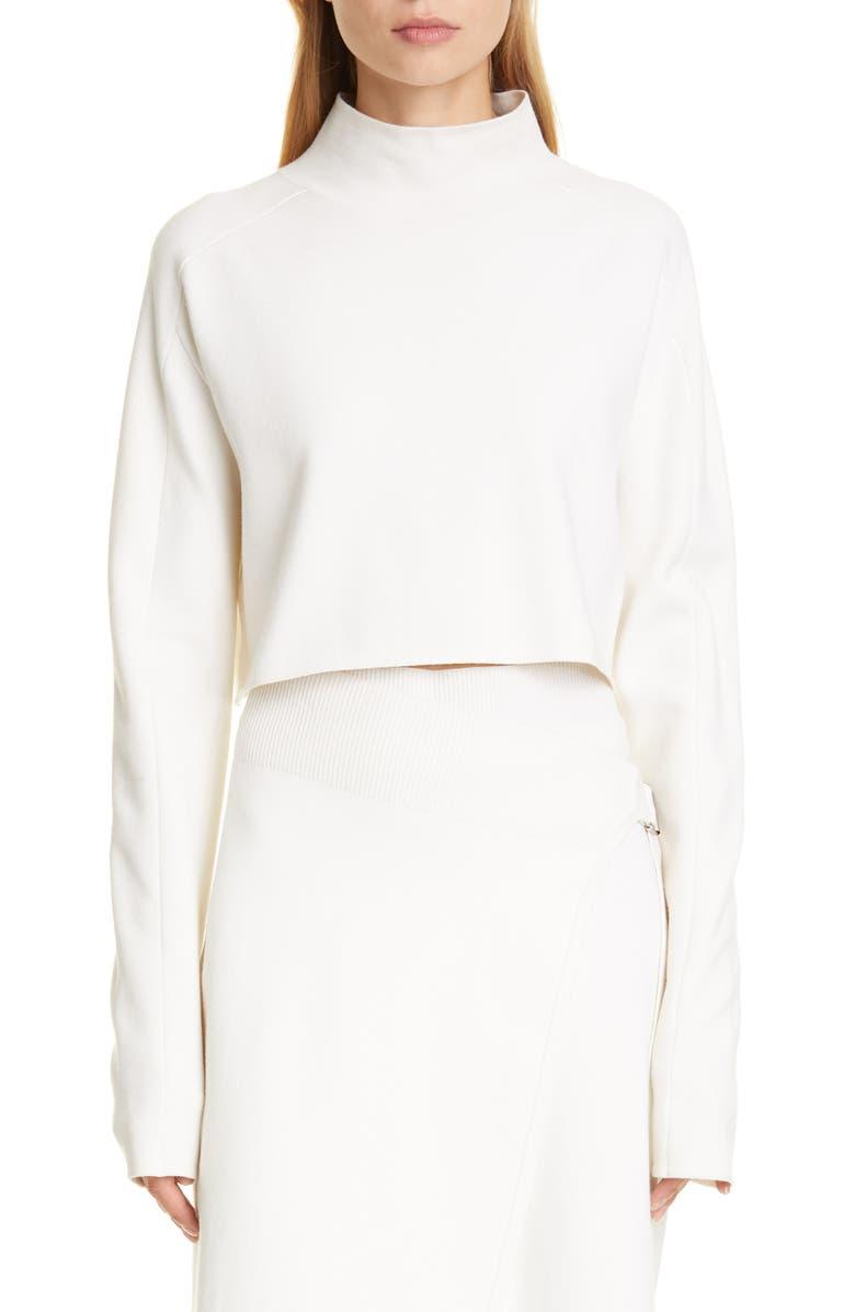 HELMUT LANG Crop Compact Wool Blend Sweater, Main, color, PORCELAIN