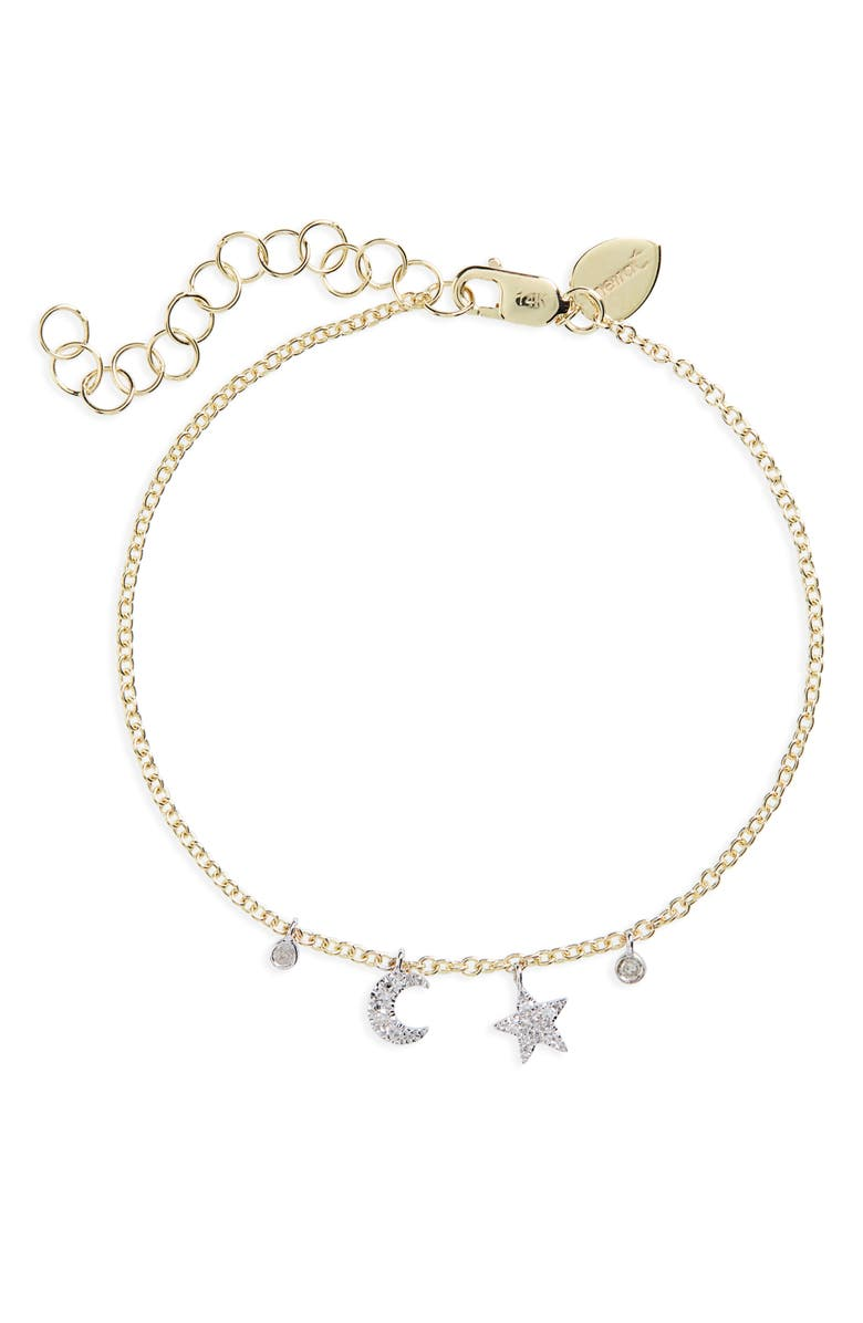 MEIRA T Moon and Star Diamond Bracelet, Main, color, YELLOW/ WHITE GOLD
