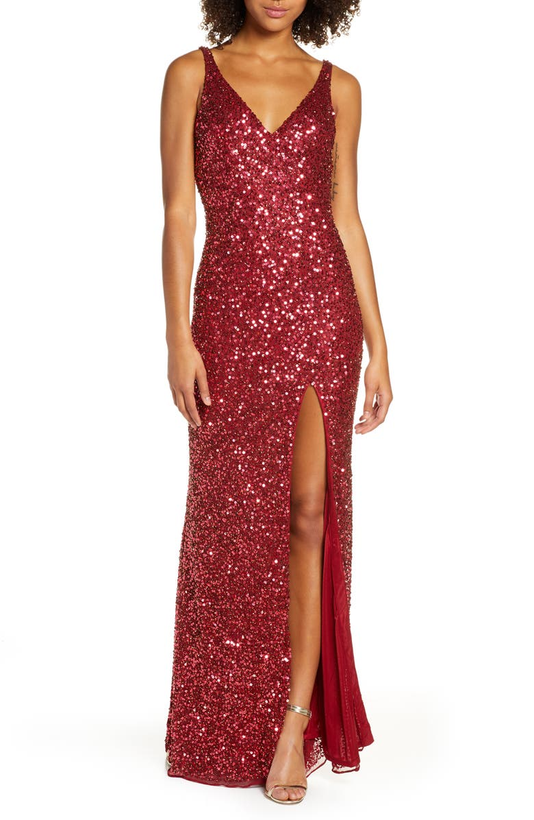 MAC DUGGAL Sequin Slit Gown, Main, color, CHILI PEPPER