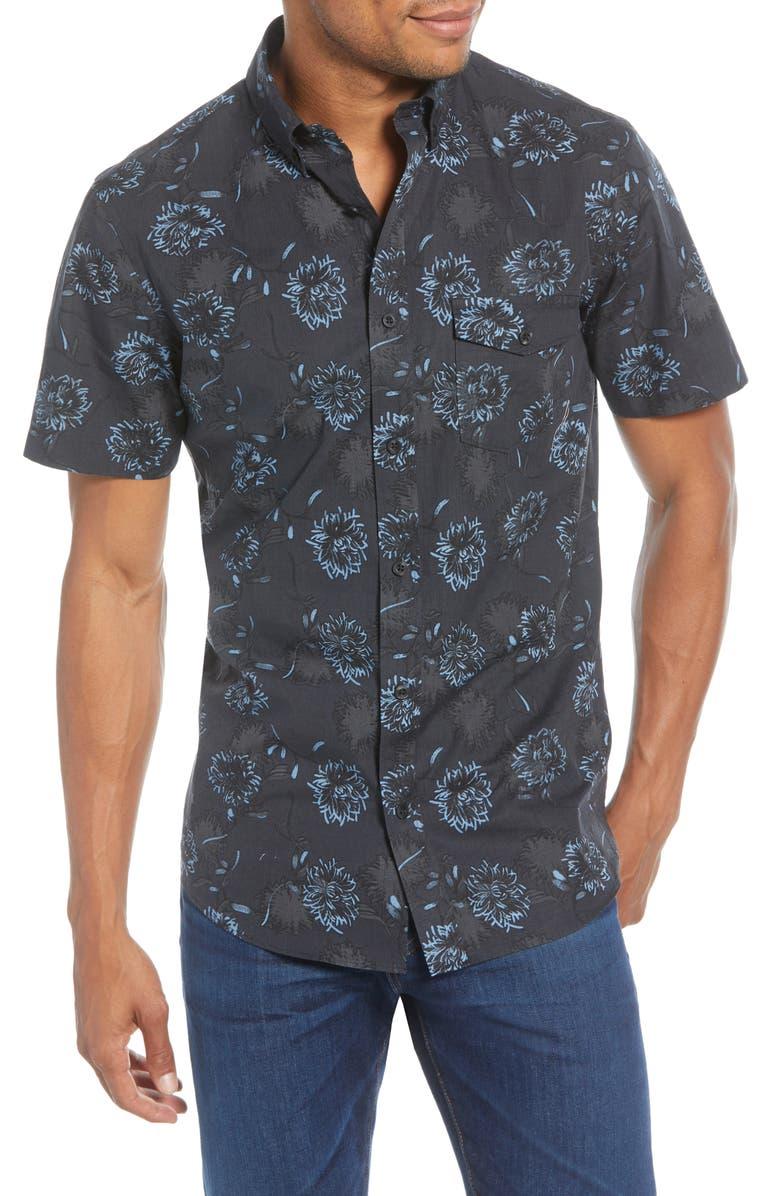 1901 Trim Fit Floral Short Sleeve Button-Down Shirt, Main, color, BLACK BLUE SEA FLORAL