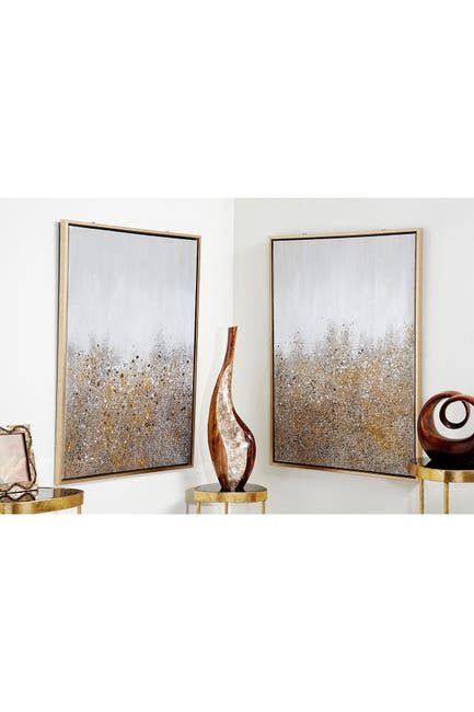 Image of CosmoLiving by Cosmopolitan Multimedia White & Gold Abstract Glitter Art Painting - Set of 2