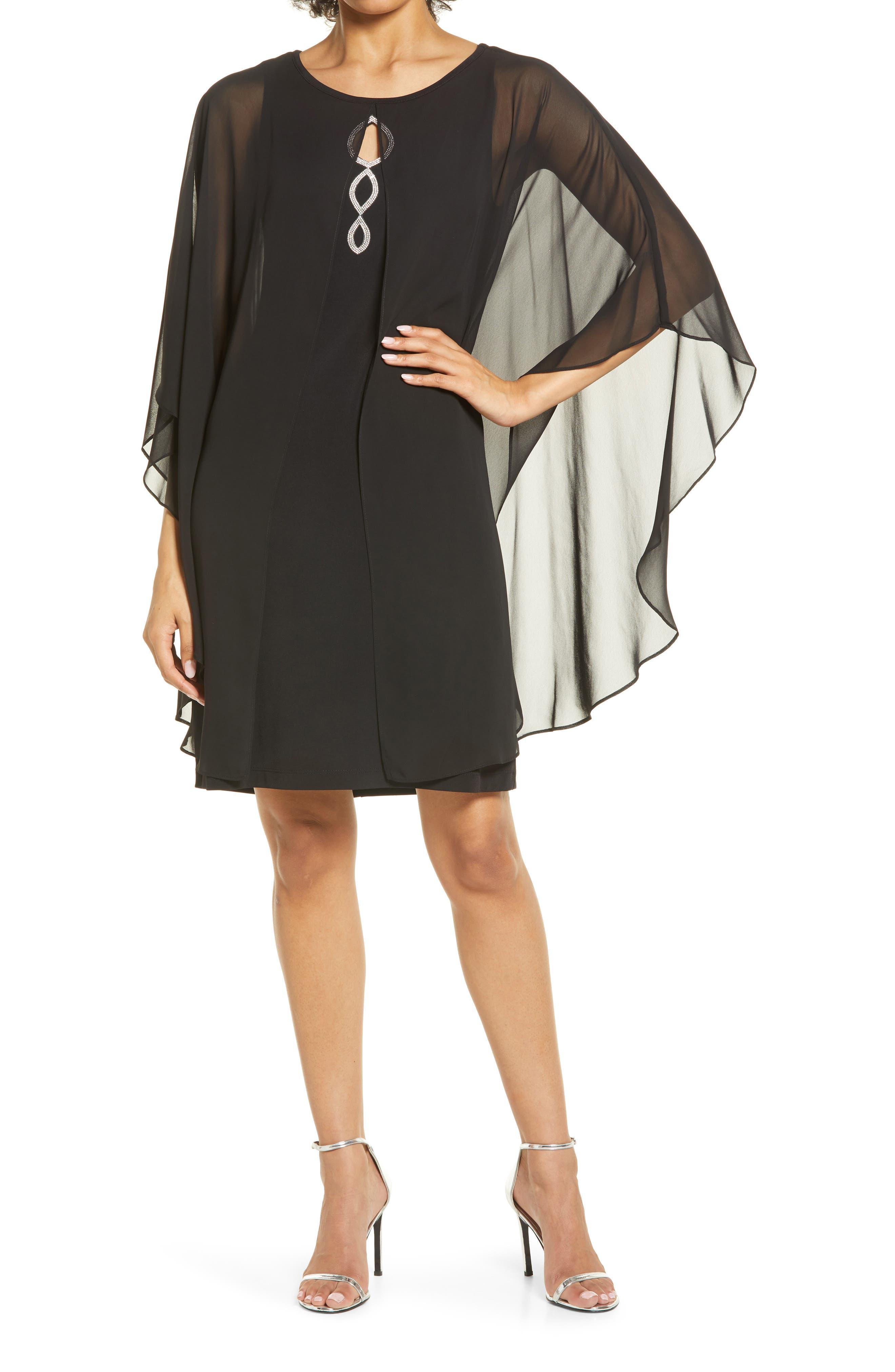Chiffon Overlay Cape Dress