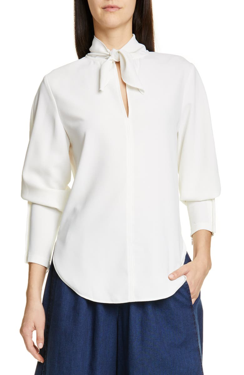 SEE BY CHLOÉ Tie Neck Crepe Top, Main, color, 101