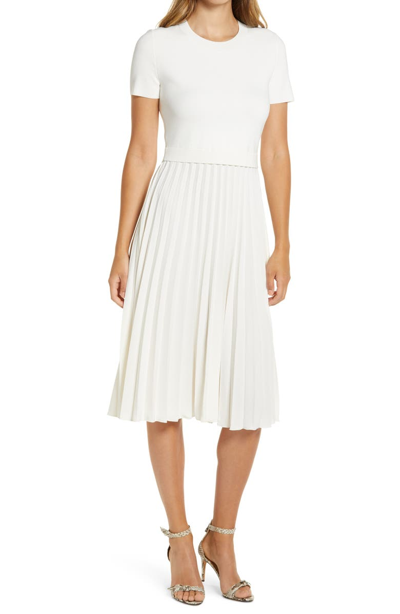 RACHEL PARCELL Pleated Mixed Media Dress, Main, color, IVORY CLOUD