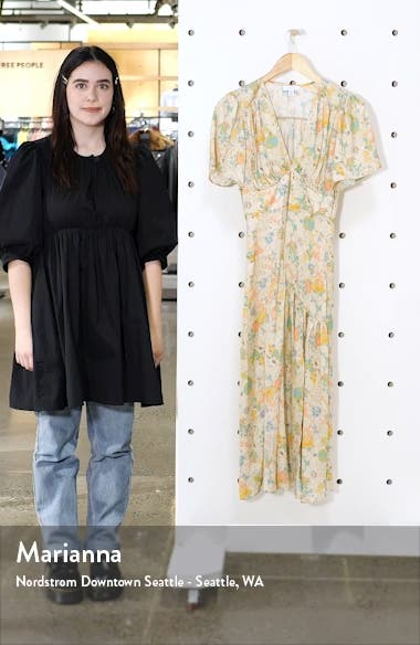 Willow Floral Angel Sleeve Satin Midi Dress, sales video thumbnail