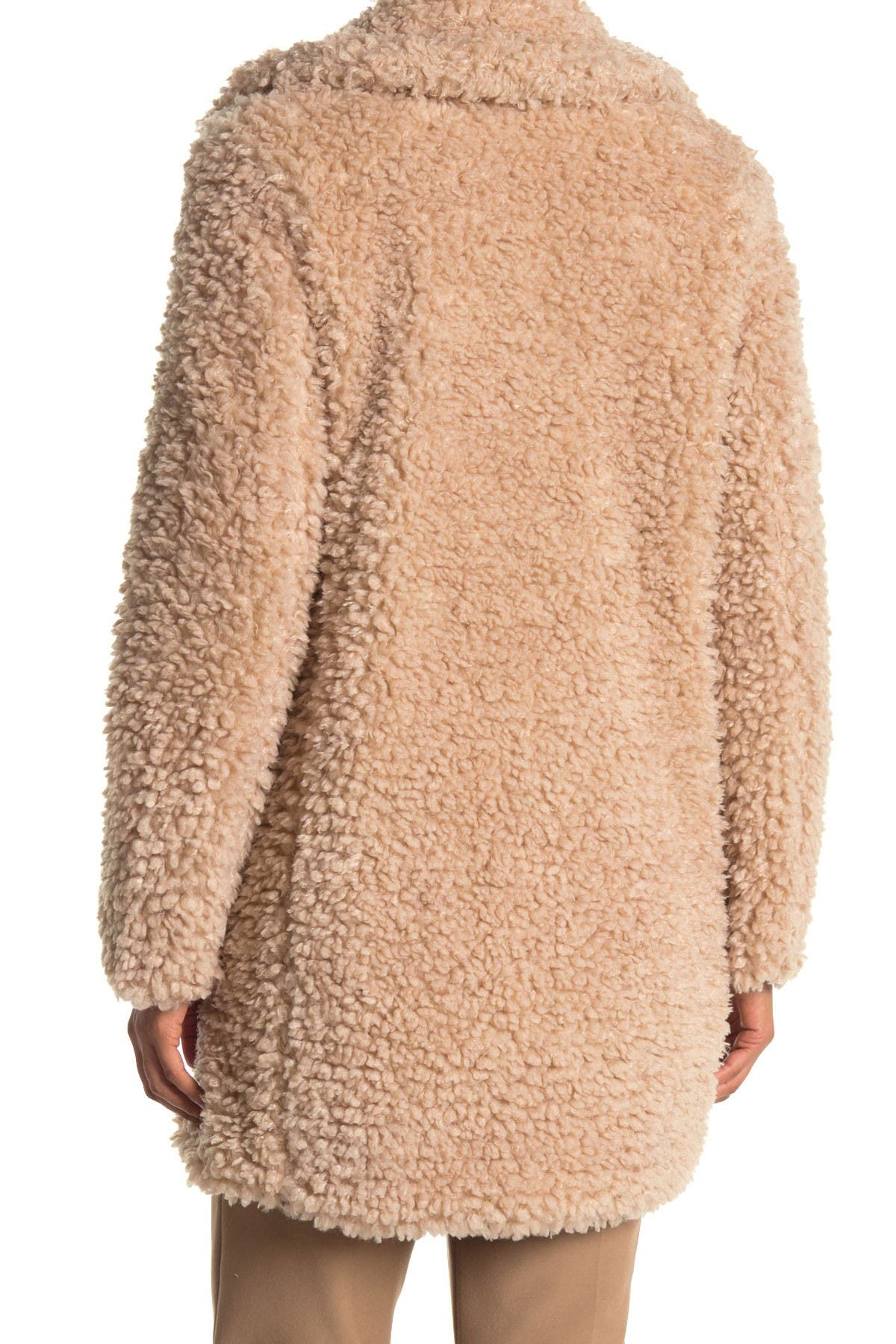 Kensie Fauux Shearling Notch Collar Coat