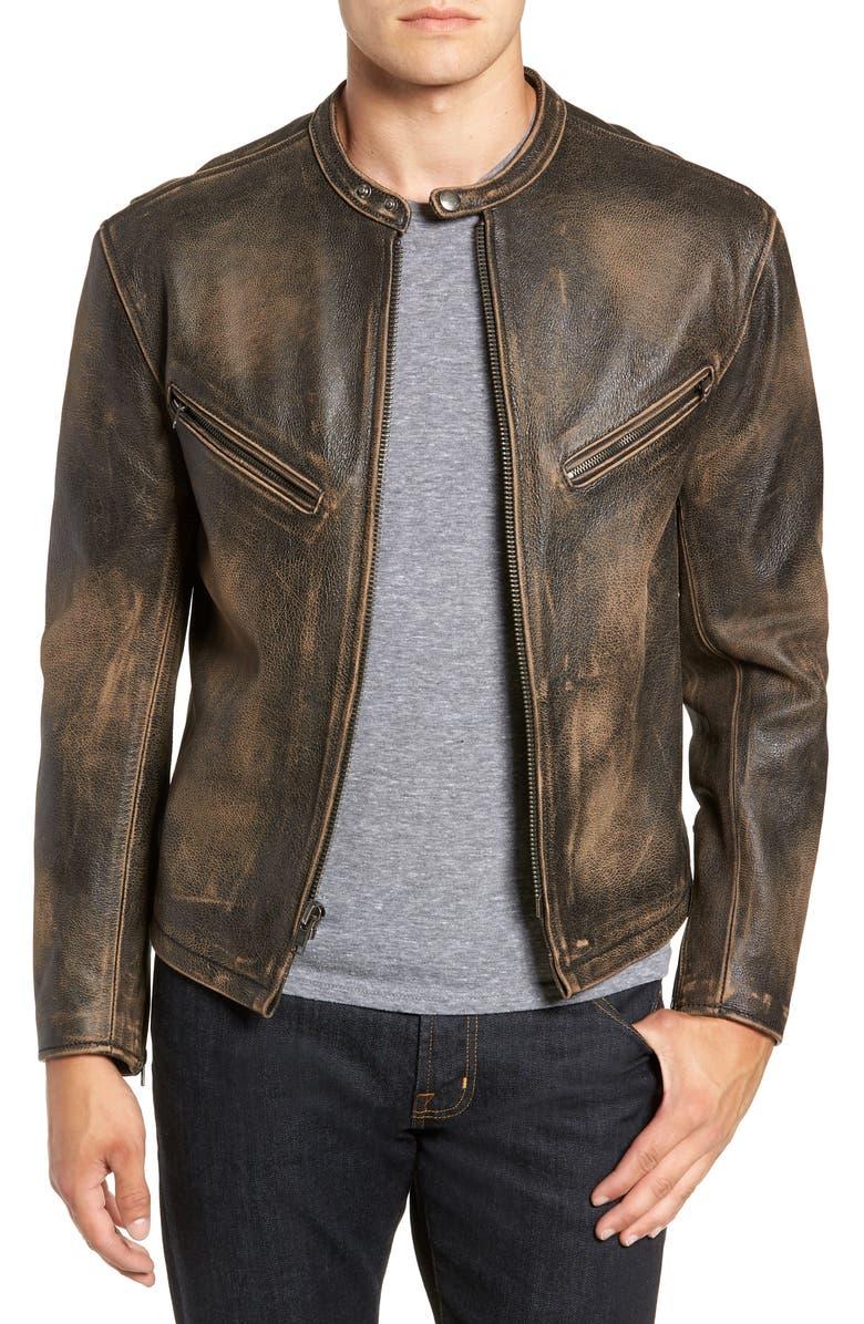 FRYE Calfskin Leather Racer Jacket, Main, color, 001