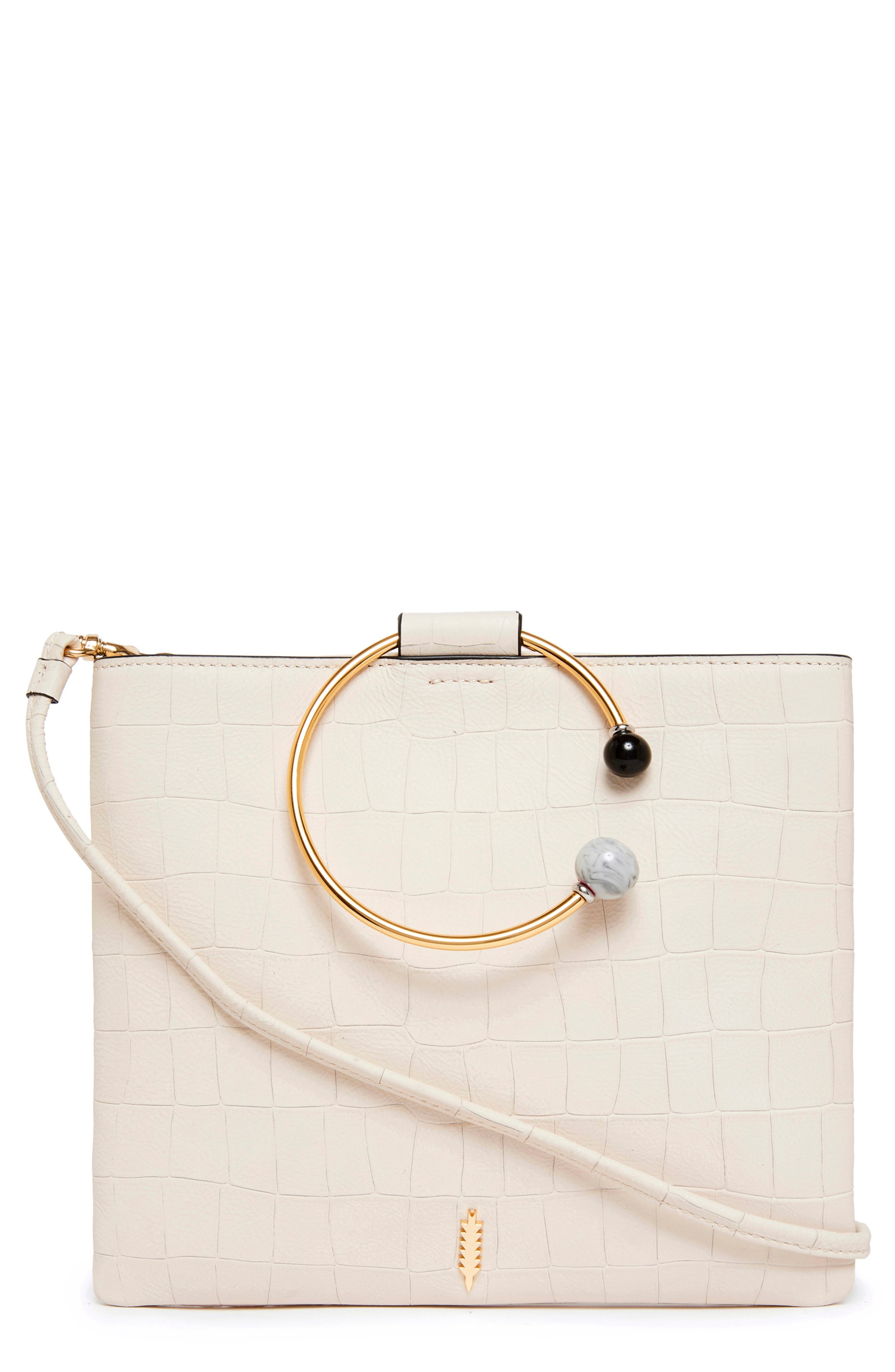 Image of THACKER Le Pouch Croc Embossed Leather Beaded Ring Shoulder Bag