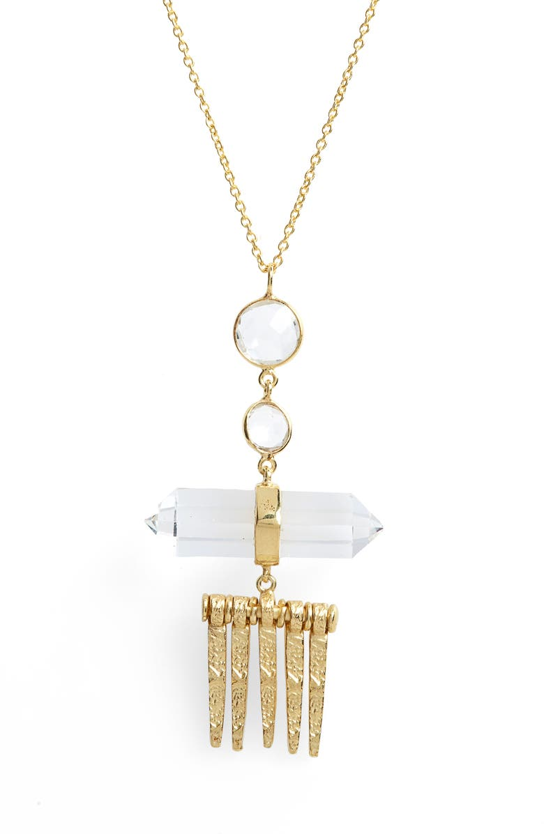 COLLECTIONS BY JOYA Valeria Pendant Necklace, Main, color, CRYSTAL