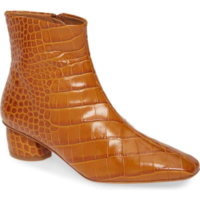 Loq Matea Croc Embossed Bootie, Brown