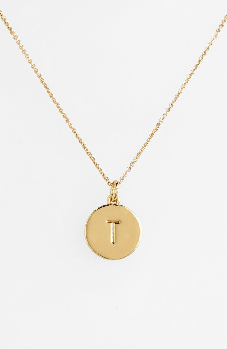KATE SPADE NEW YORK one in a million initial pendant necklace, Main, color, T- GOLD